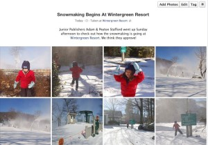 To see more photos from the first full day of snowmaking at Wintergreen, click on our Facebook album in the above photo.