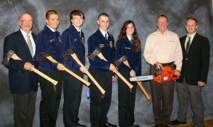 This shot was taken immediately after the awards dinner with gift axes from Husqvarna Corporation on Friday night.  Left - right Ed McCann, advisor and coach, Jesse Carter, Zach Barnes, Jack Taggart, Jamie Carter, National Sponsor representative from Husqvarna, National Sponsor representative from John Deere.