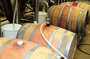 Two wineries donated barrels for the Kombucha: 2 in foreground were Petite Bordeaux from Pollack Vineyards, 2 in background were Merlot from Veritas.