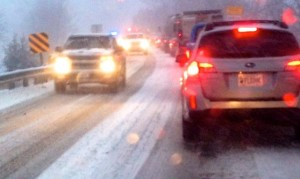 ©2014 Blue Ridge Life Magazine: Photos & Video By Tommy Stafford : Shortly after daylight Monday 3.3.14 this is what people living in Central Virginia woke up to. Snow covered roads, accidents, and backed up traffic like this scene along Route 151 near Martins Store.