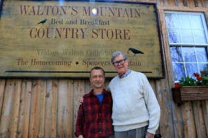Photo By Woody Greenberg : Earl Hamner (right) stops for a photo Wednesday afternoon - April 9, 2014 - with David Pounds, co-owner of Waltons' Mountain B & B and Country Store. The building once was the spot where Hamner did some of his writing and printing during his early years.