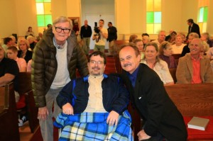 Photo By Woody Greenberg: Earl Hamner with Jimmy Fortune Jr. and his father, Jimmy Fortune at the Schuyler Baptist Church on Wednesday evening - April 9, 2014