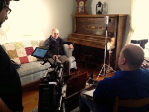 BRL writer / photographer Woody Greenberg is interviewed by crews shooting a biography on the life of Earl Hamner. Woody has been a longtime friend of Earl's for decades. He's also very active in the Nelson Museum of Rural History.