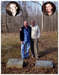 Photo Courtesy Of Ray Castro : Scott Hamner (L) and his dad Earl Hamner, Jr. (R) during an early spring visit to Scuyler in Nelson County, VA. - They were here as part of the filming of Storyteller, a documentary on the life of Earl Hamner, Jr.