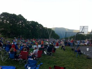 Photo courtesy of Wintergreen Resort: People packed what's normally the ski slopes in the winter, just before dark at Wintergreen Resort to view the annual fireworks on July 4th, 2014.