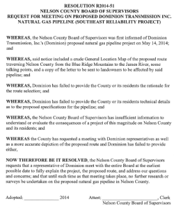 The exact wording of the resolution adopted by the Nelson BOS Tuesday afternoon - July 8, 2014. Click for larger view.