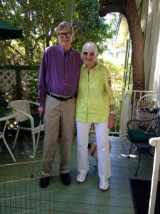 ©2014 Blue Ridge Life : Photos By BRL Writer / Photographer Wood Greenberg : 91 Year old Earl Hamner, Jr (L) and his wife Jane ham it up for the camera at the home in Studio City, California for Woody Greenberg. Wood paid Nelson's original John Boy Walton a visit this past week. Earl has been recovering from surgery a few weeks ago.