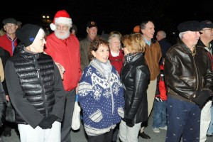 Spectators sing along with the chorus this past Wednesday night - December 3, 2014 during the annual tree lighting held in Stoney Creek.