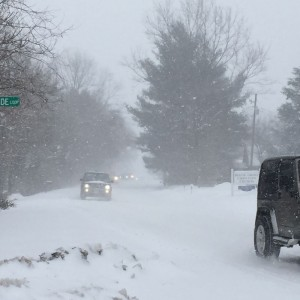 ©2015 Blue Ridge Life Magazine : Photos By Kim Chappell : Traffic was backing up for awhile on Saturday morning - February 21, 2015 along Route 664 headed toward Wintergreen. Several stuck vehicles ahead blocked the roadway during another round of heavy snow that dropped as much as 5 more inches in some locations.