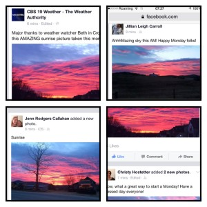 Our Facebook feed had lots of pretty shots of the sunrise pics.