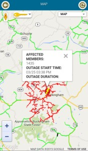 Image and data via CVEC's outage app. General areas of power outage in Buckingham County.
