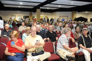 ©2015 Blue Ridge Life : Photo By Paul Purpura : Over 500 people packed the meeting room at Wintergreen on Memorial Day to learn more about the proposed pipeline that will go through areas in an near the resort.