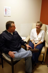 ©2011 BRLM - Photo By Hayley Osborne : David and Sherri Brooks back in 2011 during one of her countless visits to UVa Medical Center .