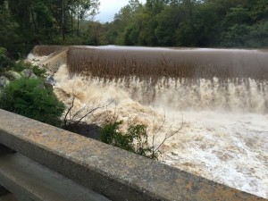 "Photo By Krystle Evans: The Rockfish River Dam at Schuyler in East Nelson County, Virginia was roaring on Saturday after an additional 3-4"" of rain fell from Friday through Sunday October 4, 2015."