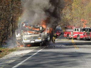 Photos Courtesy of Steve Southworth - Wintergreen Police : An RV is fully engulfed in flames Tuesday afternoon near the entrance to Wintergreen Resort in Nelson County, Virginia.