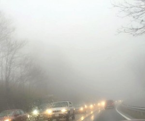 Photo courtesy of Diane Givens: Though most of the accidents had been cleared just before 3PM Sunday - traffic was still having a hard time getting up Route 250 on Afton Mountain to gain access to I-64. This photo shows traffic on the left side headed up the mountain around 2:50 PM Sunday.