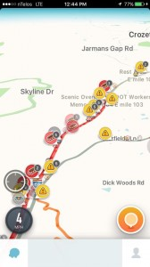 Screenshot via Waze GPS app: Around 12:45 PM Sunday - November 29, 2015 - this screenshot of Waze shows just how many accidents and traffic snarls were ongoing on Afton Mountain Along I-64.
