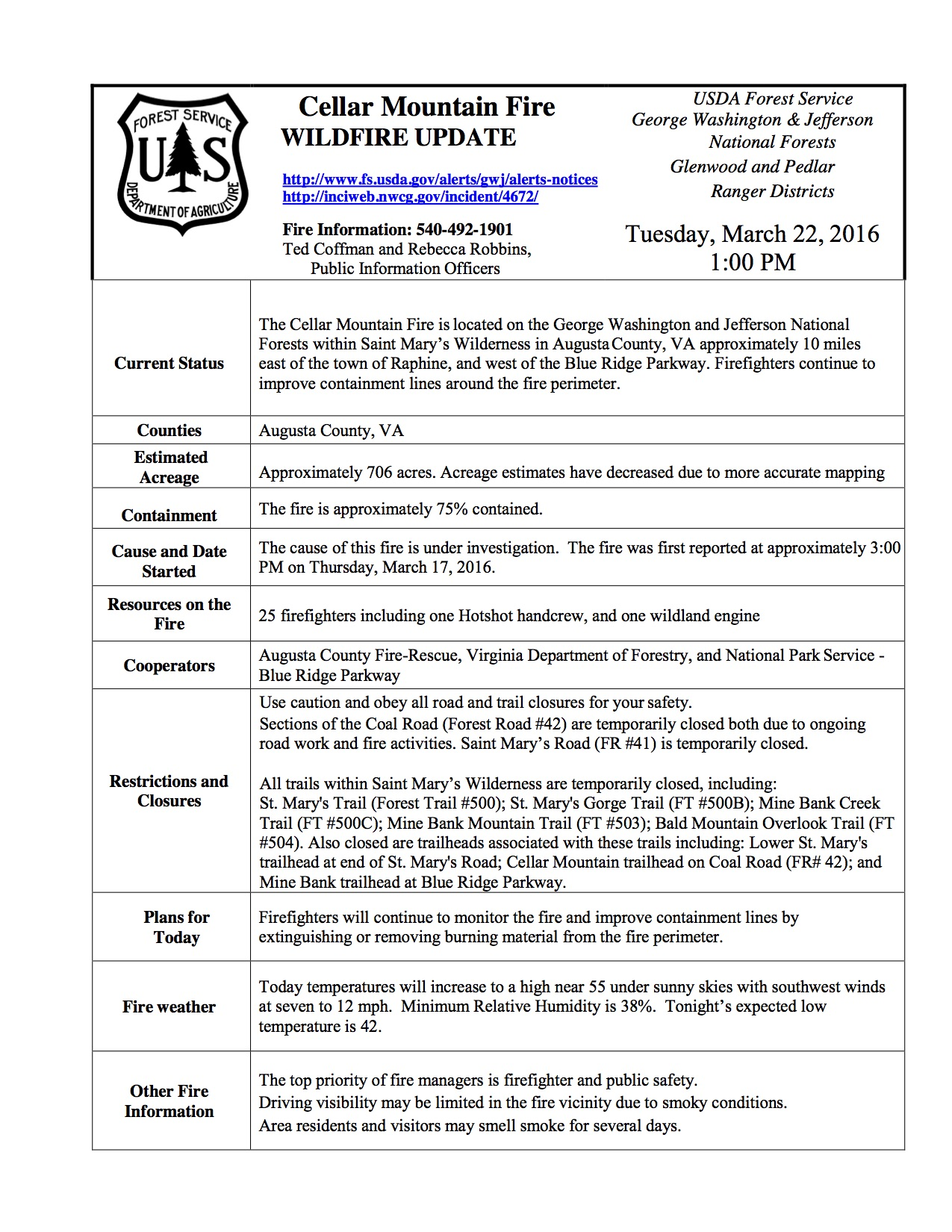Augusta Fire Burning Over 800 Acres In GW National Forest 75 - Us Forest Service Fire Maps For Virginia
