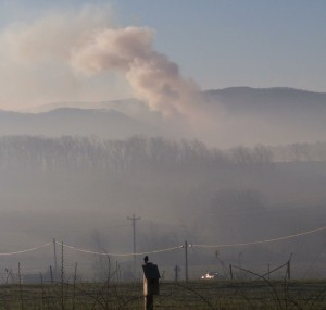 Photo courtesy of Carole Painter: A plume of smoke and a haze layer can be seen below early Friday morning from the mountain wildfire near St Mary's Wilderness in Augusta and Rockbridge Counties. This photo was taken from Lofton Road near Cold Springs Road in Augusta. March 18, 2016