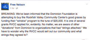 Screengrab courtesy of Free Nelson : Free Nelson broke this information above on their Facebook page earlier Thursday. BRL has confirmed that RVCC has the money.