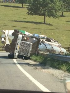 ©2016 Blue Ridge Life Magazine : This tanker truck has overturned at the intersection of Route 151 & 250 in Albemarle County just north of the Nelson County Line around 11:15 AM Tuesday morning September 6, 2016