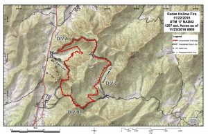 Eades Hollow area wildfire map courtesy of Virginia Department of Forestry.