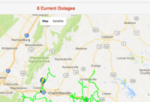 As of 2:15 PM Thursday the number of outages reported on the CVEC system were less than 10 down from a peak earlier in the morning of 1839.