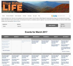 Thousands and thousands of people view our online event's calendar each month. Entering your event is easy!