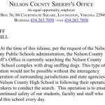 Nelson : Lovingston : Sheriff's Officers Conduct Search For Drugs In Nelson High School With Dogs