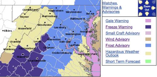 Freeze Warning Overnight Sunday For Parts Of The Blue Ridge
