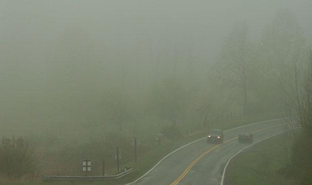 A foggy morning on U.S. 221 in Floyd County.