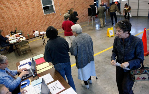 Voters cast their ballots at the Floyd County Rescue Squad station one in 2011.