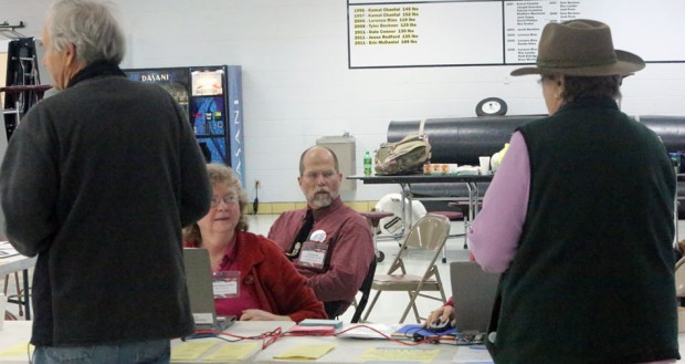 Voters arrive at Courthouse precinct voting spot at Floyd County High School.