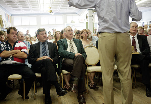 The overflow crowd at the Floyd Country Store for then-governor Mark Warner's town meeting in 2005.