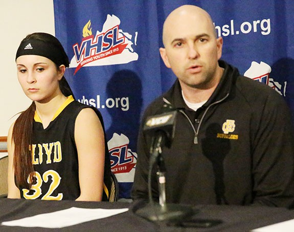 Assistant basketball coach Travis Cantrell and player Emily Boothe in post-game press conference Tuesday.