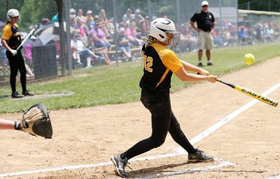Ashley Gallimore blasts a two-run homer.