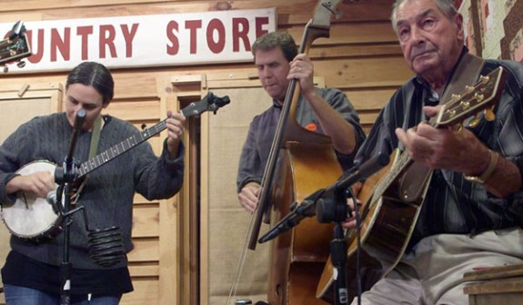 Floyd Country Store owners Heather Krantz (left) and Dylan Locke (center) performed as part of the Kuntry Store band at the Jamboree Friday night.