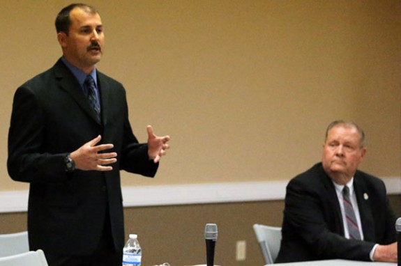 Sheriff's candidate Brian Craig speaks as Jimmy Howery waits for his turn. (Photos by Doug Thompson)