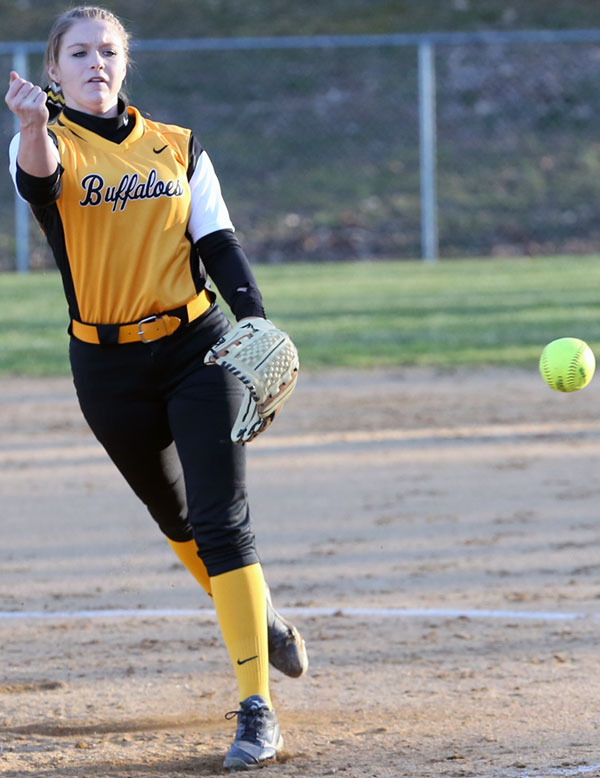 Ashley Gallimore pitched a win in a shutout of Puilaski. (Photos by Doug Thompson)