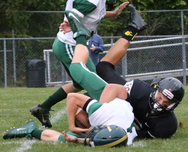 Scott Bary sacks the Patrick County quarterback early in the first quarter.