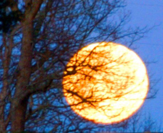 A super moonset just off U.S. 221 southwest of Willis.