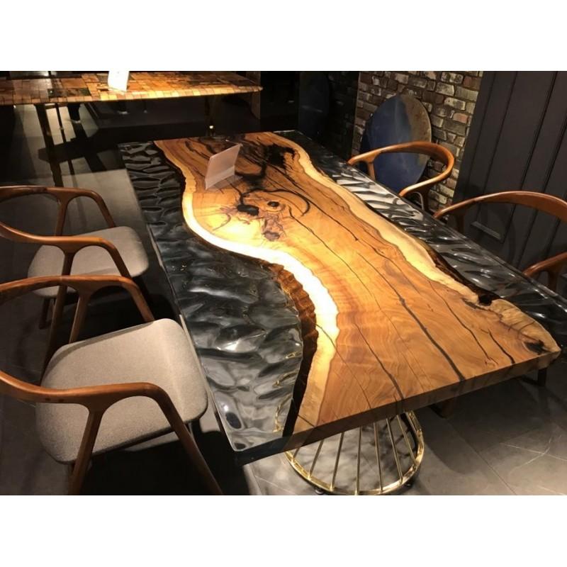 table salle a manger en noyer europeen massif et resine epoxy crystale texturee dimensions 200x100x70 cm