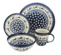 Blue Rose Polish Pottery | Reindeer Pine 16 PC Dinnerware Set