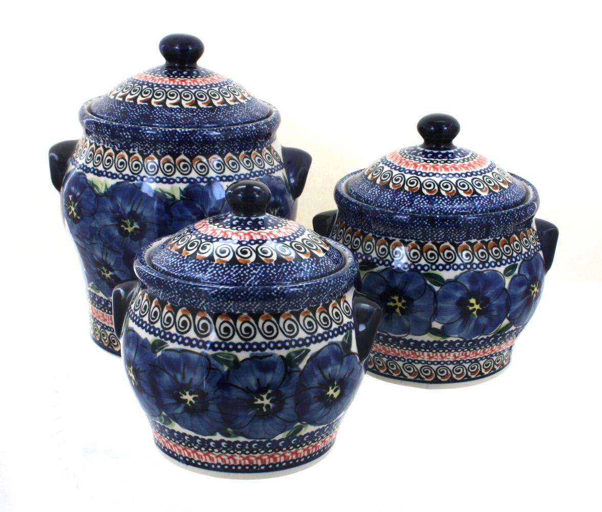 Blue Rose Polish Pottery  Blue Art Canister Set