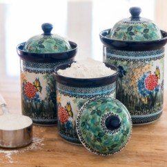 Kitchen Pottery Canisters Costco Remodel Blue Rose Polish Accessories