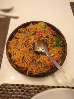 Veg Biryani is one of the good choices on the menu