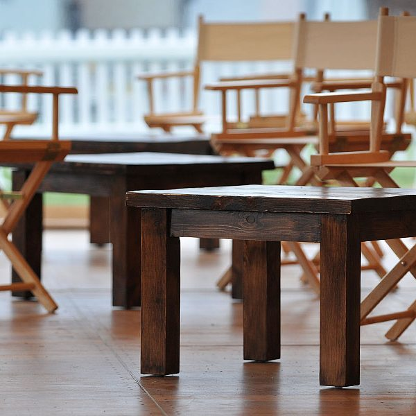 rustic dark oak coffee table blue sky event furniture rental yorkshire
