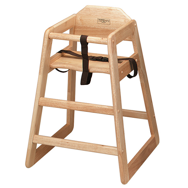 Wooden high chair in a lovely natural finish for hire