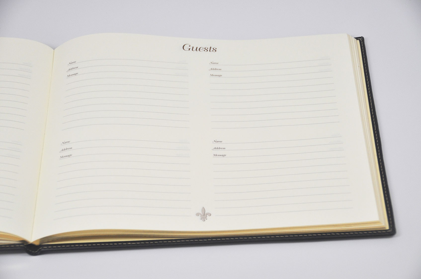 Padded Italian Leather Guest Book from Blue Sky Papers