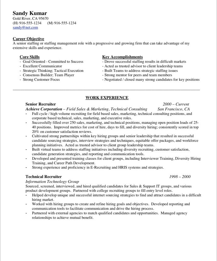 Recruiting Resume Examples Examples Of Resumes